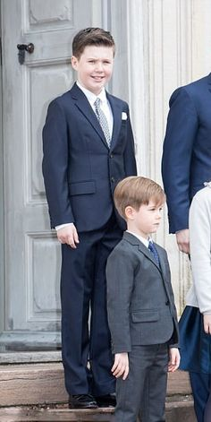Prince Christian, opted for a navy suit while his youngest brother Prince Vincent (front-L), wear a black suit for the occasion of their cousin Prince Felix' confirmation at Fredensborg Palace church on April 1, 2017 in Fredensborg, Denmark