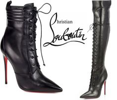 Christian Louboutin Fall 2013 Mado Lace-Up Leather Boots - Buy Online - Designer Booties, Boots Sneaker Boots, Bootie Boots, Suede Booties, Ankle Boots, Botas Sexy, Leather High Heel Boots, Hot High Heels, Sexy Boots, Christian Louboutin Shoes