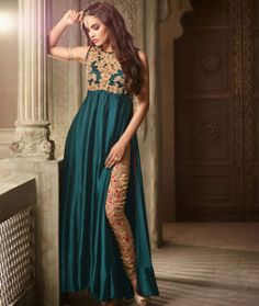 Buy Teal Satin Party Wear Salwar Kameez 74486 online at lowest price from huge…