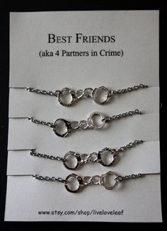 Best friends 4 Ever - Four matching bracelets for Partners in crime - Silver Handcuffs Bracelet, bracelet handchain BFF jewelry, 50 shades Birthday Gifts For Best Friend, Best Friend Gifts, Gifts For Friends, Birthday Presents, 4 Best Friends, Best Friend Outfits, Best Friend Bracelets, Best Friend Jewelry, Bestie Gifts