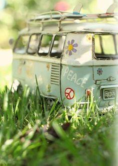 vw mini grass hippie bus