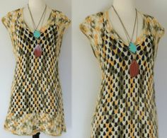 Vintage 70s Crochet Mini Dress