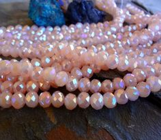 Faceted Crystal Puffy Rhondelle, Opaque Peach AB, 8mm, 35 Pieces Per Strand by DragonflyBeadsStudio on Etsy