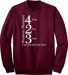 Western Pleasure 423 Feel the Beat Horse & Rider Maroon Sweatshirt