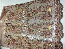 /FLORAL EMBROIDERY LACE FABRIC/1*1.48yard/phonexes/brown mesh