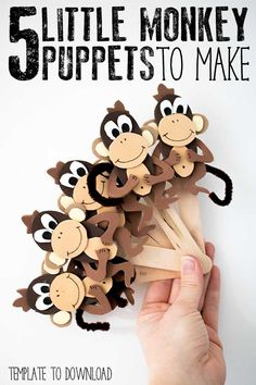 DIY Five Little Monkey's Jumping on the Bed Puppets Foam Crafts, Preschool Crafts, Easy Crafts, Diy And Crafts, Crafts For Kids, Arts And Crafts, Craft Foam, Homemade Crafts, Monkey Puppet