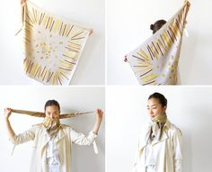 """How to Tie a Scarf Like a Parisienne The Half JAL Using an Hermès make that her husband gave her years ago, Bihr folds the scarf in half diagonally, places the triangle in front, and brings the ends forward. She calls this style """"the half JAL"""" as its inspiration, she says, comes from the way flight attendants tied their scarves [in a full bow] on Japan Airlines. """"It doesn't make the fully blossomed ribbon, so it's half."""""""