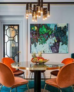 Bold colours and amazing furniture to light up your 1(!?) of november ✨⭐️ via thelifecreative.com #interiordesign #boldcolours #luxuryinterior #gubi #midcenturyfurniture #brasstable