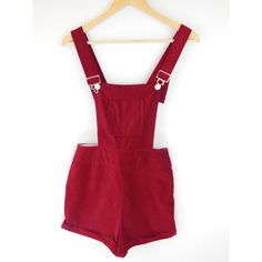 SALE 1960s Red Velvet Overalls Red 60s Playsuit Roger Rabbit ❤ liked on Polyvore featuring jumpsuits, rompers, vintage bib overalls, red overalls, velvet overalls, short overalls and vintage overalls
