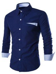 Special One Pocket Color Splicing Shirt Collar Long Sleeves Slimming Shirt For Men