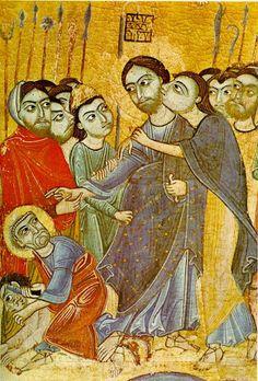 Bacio di Giuda Iscariota, pittore anonimo del 12 secolo, Galleria degli Uffizi , Firenze