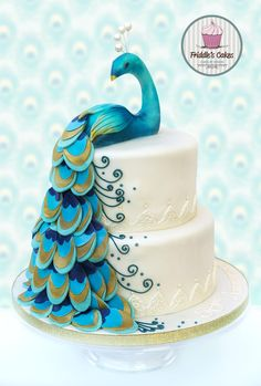 Peacock Themed Wedding Cake Featherspeacock Made Of Sugar Paste - Peacock birthday cake