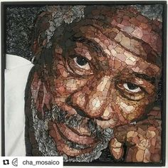Morgan Freeman face mosaic portrait,author Alina Chubova,made with smalt. Mosaic Tile Art, Mosaic Artwork, Mosaic Crafts, Mosaic Projects, Mosaic Glass, Stained Glass, Mosaic Portrait, Mosaic Designs, Recycled Art