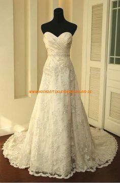 Herz-ausschnitt traumhaft elegant Brautkleid A-Linie 2013 aus Spitze