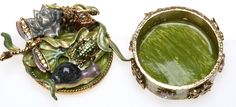 """Each time you look at the lid on this box you will see something that you hadn't seen before!   The inside of the box is a enameled green  Antique Goldtone  Measures  2"""" diameter  x 2"""" tall  COLORFUL AND ABSOLUTELY AMAZiNG!"""