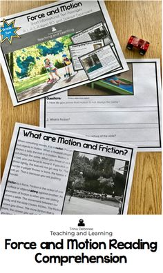force and motion reading comprehension pdf