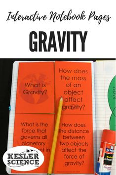 Learn how mass and distance affect gravity in these interactive notebook pages. Turn science notebooks into a fun, interactive, hands-on learning experience for your upper elementary or middle school students! Grades 3rd 4th 5th 6th 7th 8th