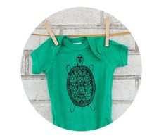 Fancy Turtle Baby Onepiece in Kelly Green Cottln by CausticThreads