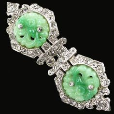 KTF #Trifari 'Alfred Philippe' Pave Baguettes and Jade 1935 'Ming' Series Double Diamond Bar Pin