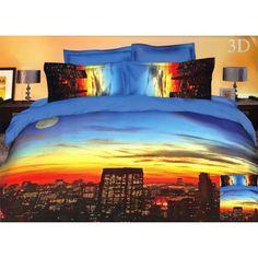 Modré obliečky na postele s 3D potlačou veľkomesta
