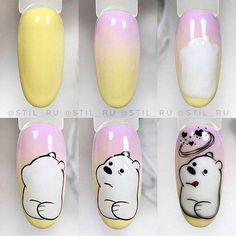 Matte Pink Nails, Subtle Nails, Funky Nails, Yellow Nails, Halloween Acrylic Nails, Best Acrylic Nails, Diy Nail Designs, Cartoon Nail Designs, Nailart