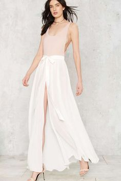 Jump Maxi Sheer Skirt - White - All Party | Summer Whites | Maxi