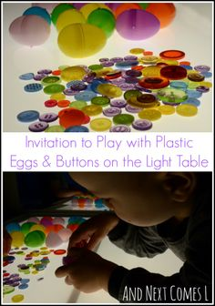 Easter invitation to play on the light table using plastic eggs and buttons from And Next Comes L