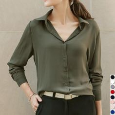 Check it out: Women Shirts Blouses Long Sleeve Turn-Down Collar