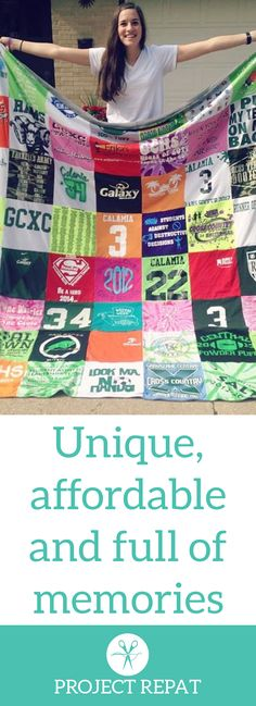 Every t-shirt quilt has a unique story to tell — what will yours say? Learn more about how you can turn t-shirts into a great conversation starter with Project Repat.    https://www.projectrepat.com/?utm_source=Pinterest&utm_medium=1.1P