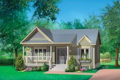 Country Style House Plan - 2 Beds 1 Baths 806 Sq/Ft Plan #25-4451 Exterior - Front Elevation - Houseplans.com