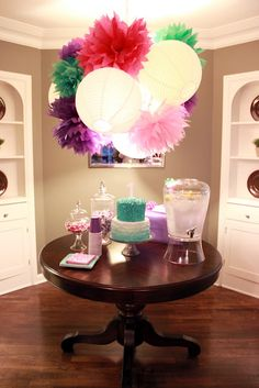 grown up birthday party. I love poms and paper lanterns Festival Decoration, Party Decoration, Birthday Bash, Birthday Parties, Birthday Ideas, Paper Lanterns, Paper Lamps, Party Gifts, Holiday Parties