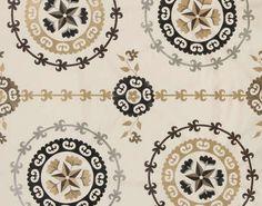 Tachkent, Creme Pierre Frey, Embroidered Silk, Compass Tattoo, Decoration, Decorative Plates, Textiles, Design, Products, Arredamento
