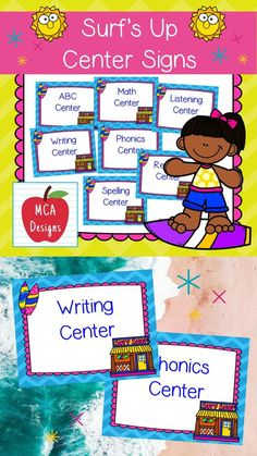 This set of surfing themed Center Signs are part of my Surf's Up classroom décor collection. Each center sign is accented with bright colors and surfing graphics! #teacherspayteachers #tpt Spelling Centers, Abc Centers, Phonics Centers, 4th Grade Classroom, Classroom Posters, School Resources, Classroom Resources, Teacher Resources, 2nd Grade Activities