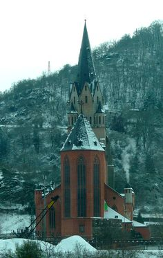 I had to hold my camera against AmaWaterways Amacello's window to take this photo. The weather was too messy to go outside. But the ride through the Rhine gorge was still beautiful. In this photo: Church Liebfrauenkirche at Oberwesel on the Rhine