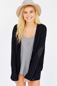 Olive & Oak Elbow-Patch Cardigan - Urban Outfitters