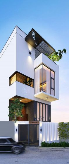 New House Architecture Design Interior 32 Ideas Arch House, Facade House, Facade Design, Exterior Design, Contemporary Architecture, Architecture Design, Computer Architecture, Watercolor Architecture, Beautiful Buildings