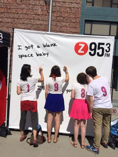 A huge Blank Space wall for people to write messages before the Taylor Swift show! This was a huge hit.