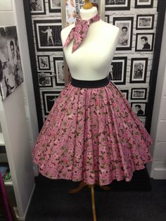 50s Style Rock & Roll Grease Circle Skirt Pink Floral Print Rockabilly