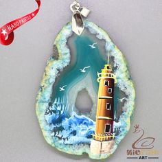 STONE  NECKLACE HAND PAINTED lighthouse GEMSTONE PENDANT BEAEDS ZL8010236 #ZL #Pendant