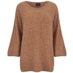 VILA Women's Loose Knitted Pocket Jumper - Autumn Leaf (€14) ❤ liked on Polyvore featuring tops, sweaters, shirts, jumpers, orange, 3/4 length sleeve shirts, loose sweaters, shirt sweater, beige sweater and three quarter sleeve shirts