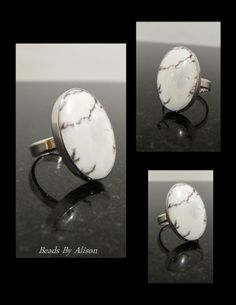 Datolite sterling silver bezel set ring. Cabochon by Bob Wright, Silver by Beads By Alison. Gemstones & Cabochons - Beads By Alison