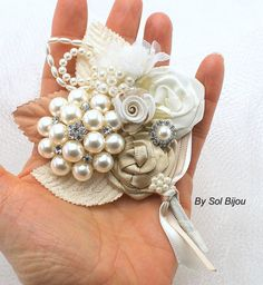 Brooch Groom Boutonniere in Champagne and Ivory with Brooch, pearls and Handmade Flowers on Etsy, $35.00