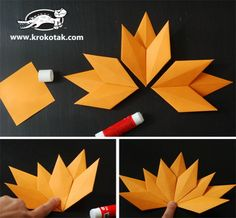 This is a nice kids paper craft for this Fall season . It would be so easy to make some Fall leaves for home decorating Diy Origami, Paper Crafts Origami, Fall Leaf Template, Fall Crafts, Arts And Crafts, Origami Leaves, Birthday Gifts For Boyfriend Diy, Leaf Projects, Paper Leaves