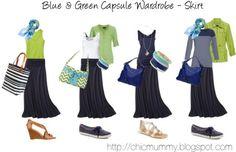 Blue & Green SAHM Capsule Wardrobe - Skirt