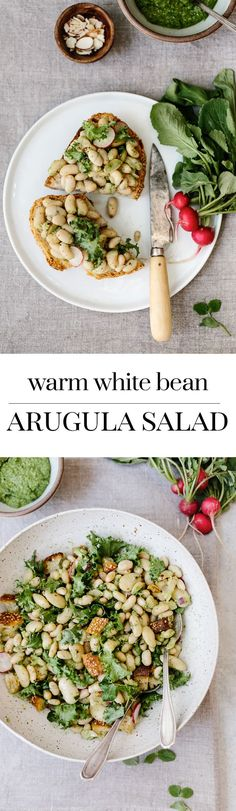 Warm White Bean Arugula Salad: A Salad recipe made with mixing warm cannelini beans with arugula pesto.