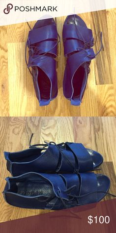 Blue Trippen gladiator-style sandals The German leather craftsmanship in Trippen shoes is just amazing. They've only been worn a handful of times and I'm only selling them because they're a tad short for my feet: sad for me, but good news for you! Trippen Shoes Sandals
