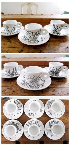 Black Porcelain Pen on white cups and saucers. Fun.