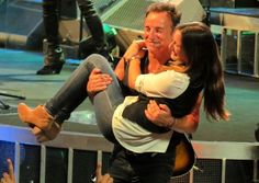 Bruce Springsteen pulls daughter, Jessica on stage for a dance during a concert in Paris. The song?- dancing in the dark!#Repin By:Pinterest++ for iPad#