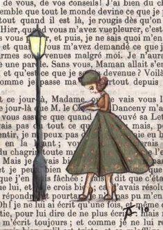 Wunderschönes gezeichnetes Bild auf einer alten Buchseite
