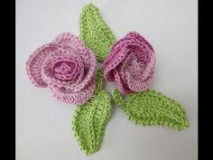 Роза из колец + листочек Вязание крючком Rose from rings + leaf Knitting by a hook - YouTube Not in English